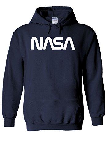 NASA Retro Vintage Old Space Man Novelty Navy Men Women Unisex Hooded Sweatshirt Hoodie-M