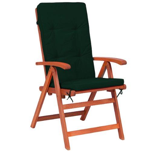 Deuba 6X Coussins de Chaise - 100% Polyester - pour Chaise à Dossier Haut Vert