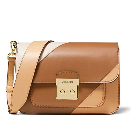 Leather,Goldtone hardware Foldover with pinch lock closure One exterior pocket with magnetic snap closure Three interior slide compartments, one slide pocket, and one zip pocket 6.5''H x 9''W x 3''D,Detachable adjustable shoulder strap 14.5''-17''