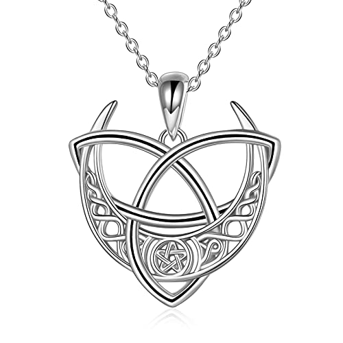 POPLYKE Celtic Moon Necklace for Women Sterling Silver Celtic Triquetra Pentagram Wiccan Necklace Jewelry Gift for Girls
