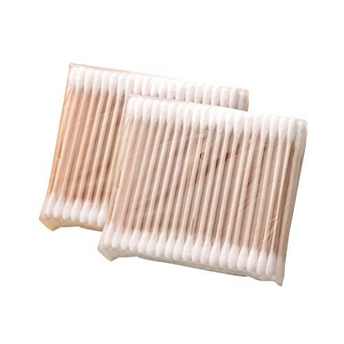 Lurrose 5 Pack 100 Teile/Paket Einweg Doppelseitige Wattestäbchen Pflegestäbchen Ohrstäbchen für Ohr Reinigung Make-up Anwendung und Entfernung