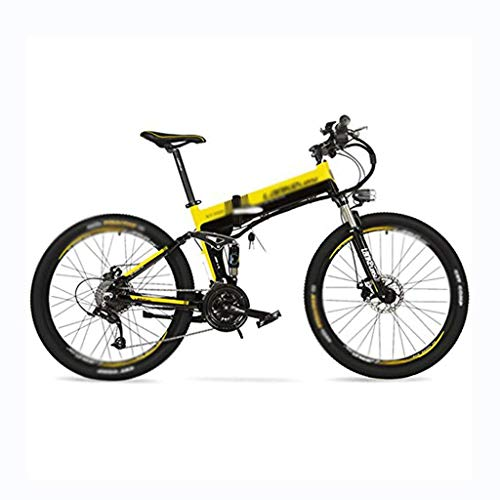 HLL Scooter,36V 12.8Ah Hidden Lithium Battery, 26' Folding Pedal Assist Electric Bike, Speed 25~35Km/H, Mountain Bike, Suspension Fork,Black Yellow