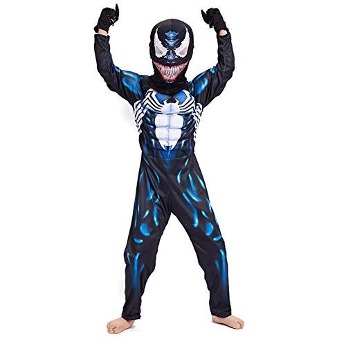 LINLIN Venom Disfraces Nios Boys Cosplay 3D Imprimir Jumpsuit Halloween Carnival Superhroe Body Fancy Dress Traje para Fiesta Onesies Disfraz,Blue- Kid S 110~120cm