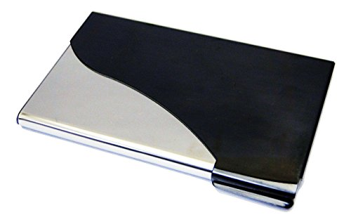 Business Name Card Holder Curve Edge Stainless Steel Case - Black