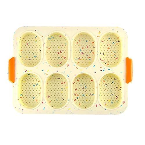 sevenjuly Herramienta para Hornear Colorido Baguette Pan de 8-Rejilla de la Torta Oval Molde de Silicona Antiadherente Perforado Pan de la Cocina del hogar, Herramientas de la Cocina