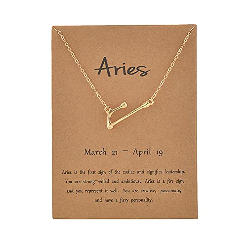 Zhongxiang Cardboard Star Zodiac Sign 12 Constellation Necklaces Crystal Charm Gold Chain Choker Necklaces for Women Birthday Jewelry Gift-Aries