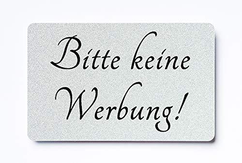 KaiserstuhlCard Magnet 2x Bitte keine Werbung magnetisch und selbstklebend Aufkleber Tür Schild Türschild Briefkasten Briefkastenschild Haus Praxis Büro Geschäft silber (1)