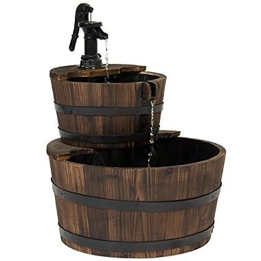 Best Choice Products Outdoor Garden Decor 2-Tier Wood Barrel Water Fountain W/Pump, Brown