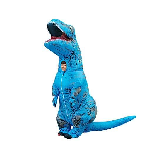 DEJUHUI Disfraz inflable de dinosaurio para adulto T-Rex Fancy Dress de Navidad para disfraz inflable de Halloween (azul, M)