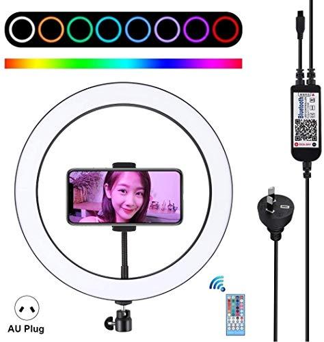 Beauty lamp LED Ring Light 12 inch RGB Dimbare LED Ring Vlogging Selfie Fotografie Videolichten met Cold Shoe Statief Balhoofd en amp Telefoonklem (US Plug) (Kleur: AU Plug) (Upgrade)