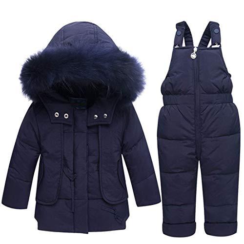 BEIAKE Kinder Daunenjacke Anzug verdickt Säugling Winter Kleidung Baby Fell Schneeanzug Hoodies Jacke Entendaunen Kleinkind Mädchen Outfits Schneebekleidung Jumpsuit, dunkelblau, 90 cm