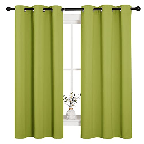 NICETOWN Thermal Insulated Solid Grommet Top Blackout Holiday Decorative Curtains/Drapes for Kid's Room (1 Pair, 42 x 63 inches in Fresh Green)