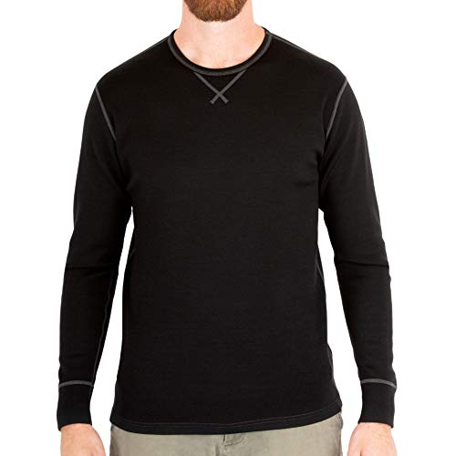 MERIWOOL Mens Base Layer 100% Merino Wool Heavyweight 400g Thermal Shirt for Men Black