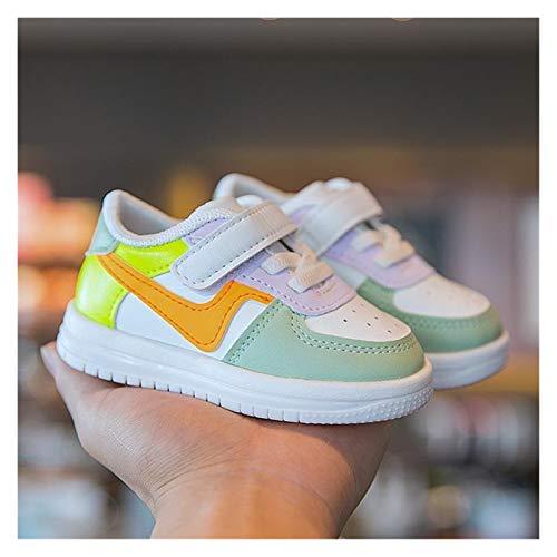 Youpin Zapatos de bebé para niñas y niños, zapatillas de deporte para niños, niñas, bebés, de piel, zapatillas informales, zapatos suaves (color: naranja, talla de bota: 25 (suela de 15,5 cm)