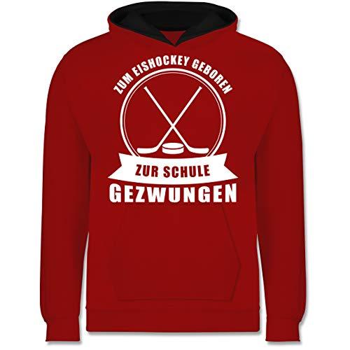Shirtracer Sport Kind - Zum Eishockey geboren. Zur Schule gezwungen - 152 (12/13 Jahre) - Rot/Schwarz - Geschenk - JH003K - Kinder Kontrast Hoodie