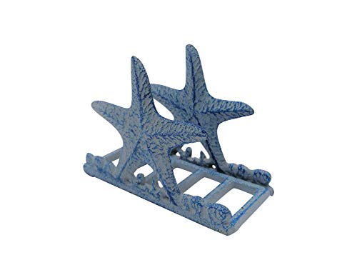 Comfy Hour Under The Sea Collection Cast Iron Starfish Napkin Holder, Kitchen, Table, Desk Uses, Blue