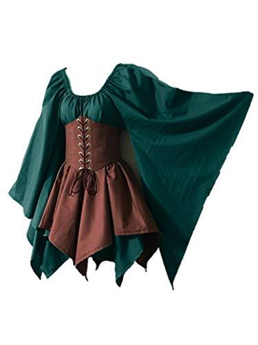 SUMTTER Ostern Kostüm Retro Mittelalter Kleid Damen Faschingskostüme Gothic Steampunk Kleidung Minikleid Karneval Halloween Weihnachten