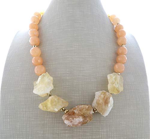 Collar de citrina amarilla jade naranja y pyrite dorada, joyas artesanales de piedras naturales, estilo contemporaneo, regalo para ella