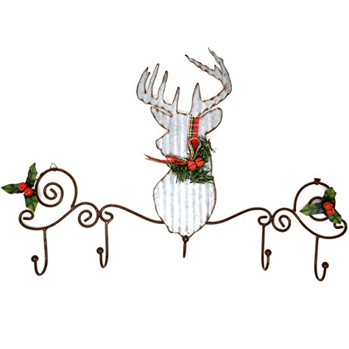 Christmas Stocking Holder Rustic Signs Galvanized Metal Reindeer Wall Mount Hanging Sign 5 Hook Stockings Hangers Bronze For Mantle Fireplace Shelf Coats Keys Ornaments Stocking Holders Holiday Decor