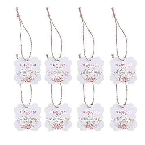 Amosfun 50 etiquetas de regalo de boda con texto en inglés 'Thank You for Celebrating With Us Pattern with Hemp Rope for Wedding Party Favor (Antler Printing)