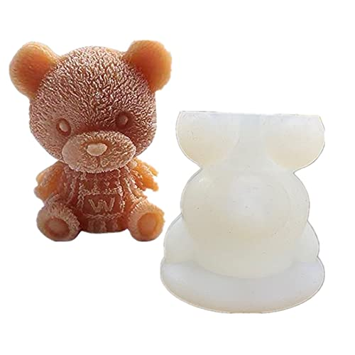MOODCOME 3D Teddy Bear Ice Cube Mold Silicone Animal Mould Ice Maker for Coffee Milk Tea,Non Stick DIY Soap Candle Tray Chocolate Candy Fondant Molds Cake Topper Decoration,XS