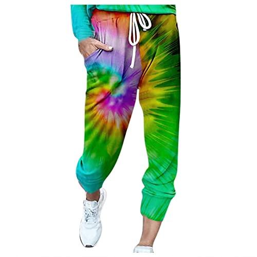 Pantalones deportivos elásticos con cordón para mujer, N, XL
