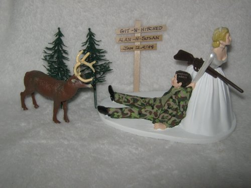 Git N Hitched Sign Camo Redneck Wedding Deer Hunter Hunting Cake Topper