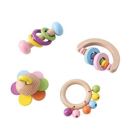 Promise Babe Juguetes Orgánicos de Madera para Niños Pequeños Sonajeros de Madera 4pc para Niños Campanas de Arcoiris Juguete Educativo Baby Ringer Montessori No Tóxico Regalo de la Ducha