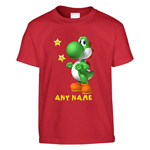 Camiseta Yoshi personalizada para niños | Camisetas impresas para niños | Camiseta de manga corta con cuello redondo | Camisetas personalizadas | Regalo de cumpleaños para niños