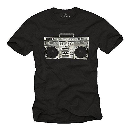 Ghettoblaster - Camiseta Hombre Hip Hop - Negra XXXL