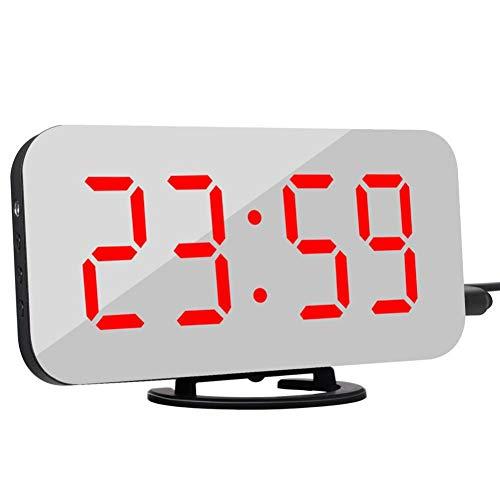 YCEOT multifunctionele digitale led-spiegel, elektronische wekker met twee USB-poorten voor de telefoon, past automatisch de helderheid aan