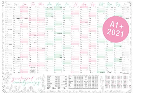 XXL Wandkalender 2021 größer als A1 (89 cm x 63 cm) Blumen | 15 Monate: Nov 2020 - Jan 2022 | gefalzter Wandplaner mit Ferien- und Feiertage-Übersicht | nachhaltig & klimaneutral