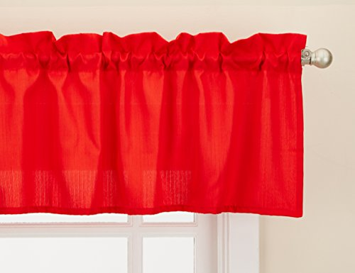 """LORRAINE HOME FASHIONS Ribcord Window Curtain Tailored Valance, 54"""" x 12"""", Red"""