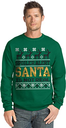 Hanes Men's Ugly Christmas Sweatshirt,santa is not real/emerald night,Large