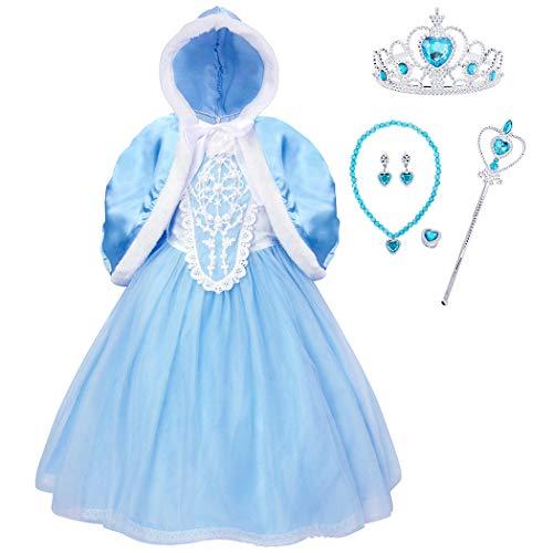 Jurebecia menina princesa vestido branco neve vestido azul e branco manga curta renda rosas brancas,P054-130