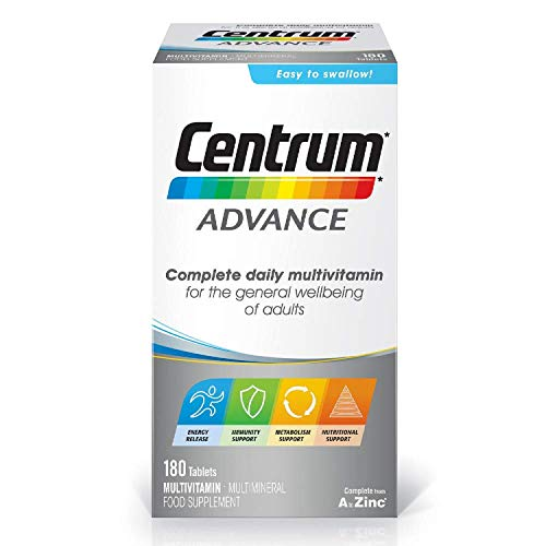 Centrum Advance Multivitamin & Mineral Tablets, 24 Essential Nutrients Including Vitamin D, Complete Multivitamin Tablets, 180 Tablets