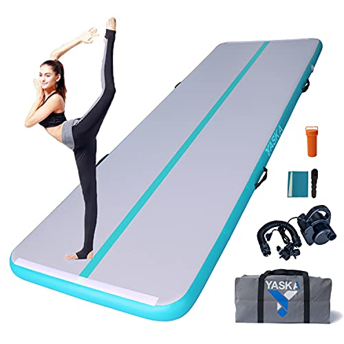 10/13ft Inflatable Gymnastics Air Tumbling Mat 4 inches Thickness With Electric Pump for Cheerleading/Yoga/Beach/Home Use/Training (Blue, 9.84×3.28×0.33ft(3×1×0.1m))