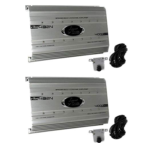 LANZAR 4000 Watt 4 Channel Bridgeable Car Stereo Amplifier w/Remote (2 Pack)