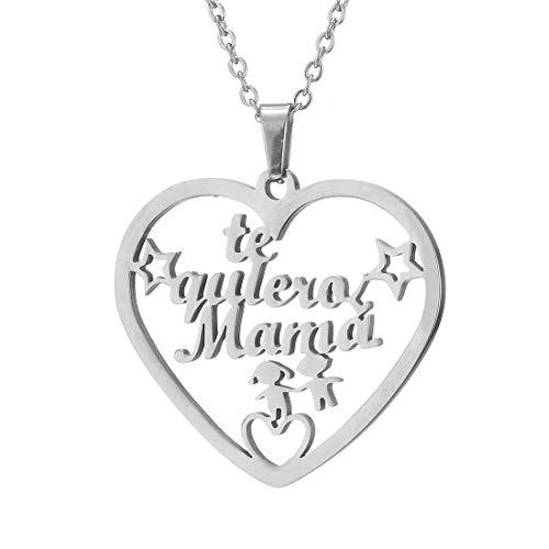 RWQIAN Collar Mamá Collar Madre Arbol de la Vida Colgante de corazón Color de Plata Oro Acero Inoxidable Collares Mujer Regalo para Mamá Abuela Joyería Familiar 45cm