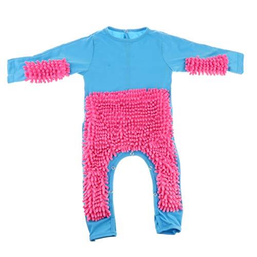 perfeclan Baby Mop Romper Ropa De Gateo De Una Pieza Trajes De Limpieza De Pisos Para Bebés - Azul + Rosa Roja, 80cm