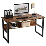 IRONCK Industrial Computer Desk 47' with Bookshelf, Office Desk, Writing Desk, Wood and Metal Frame, Industrial Style, Study Table Workstation for Home Office Furniture…