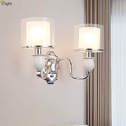 Moderne wandlamp van metaal met glazen kap voor slaapkamer woonkamer @ 2 lampen wandlamp lamp wit