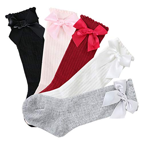 Vobony 5 pares Calcetines Largos de Algodón Antideslizantes Calcetín Medias Altos con Lazo para Bebé Niños Niñas (Talla S por 0-2 años)