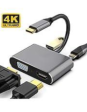 WETON USB Type c ハブ VGA HDMI アダプタ 4-in-1 変換 アダプタ UHD コンバータ Nintendo Switch/MacBook Pro/Air iPad Pro 2018//Dell XPS/Samsung ニンテンドースイッチ/USB C デバイス対応 (4-in-1)