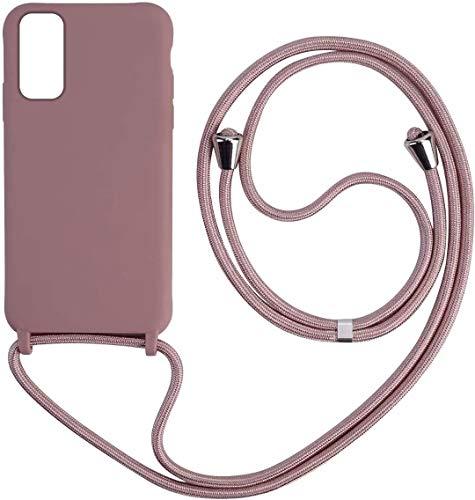 Bigcousin Funda con Cuerda Compatible con Samsung Galaxy A91/M80S/S10 Lite,Carcasa de Silicona con Colgante con Ajustable Collar Cadena Cordón,Rose Gold