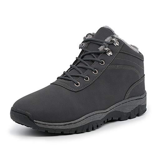 LEKANN® 450 Herren Winterstiefel Warm Gefüttert Schnee Outdoor Boots Winterschuhe, Grau Gr. 43 EU