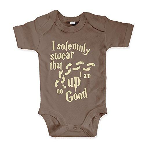 net-shirts Organic Baby Body mit Up to no Good Aufdruck Spruch lustig Strampler Babybekleidung aus Bio-Baumwolle mit Zertifikat Inspired by Harry Potter, Größe 0-3 Monate, Mokka