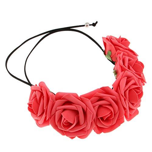 Sharplace Femme Fleur Roses Bandeau de Mariage Cheveux Bandes Accessoires Femme Filles pour Été Plage Embellissement Coiffure - Rouge