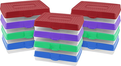 Storex Large Pencil Box, 7.75 x 11.25 x 2.88 Inches, Assorted Colors, Color Assortment Will Vary, Case of 12 (61632U12C)