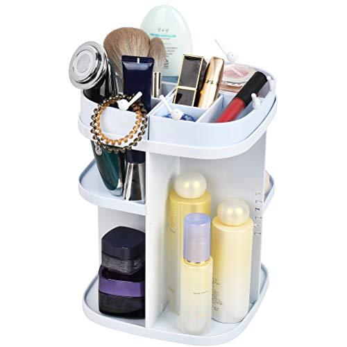 CENBEN Organizador de Maquillaje, Organizador de Almacenamiento de Cosmético de Belleza Ajustable, Caja Cosmética de Maquillaje para Tocador, Baño, Dormitorio(Blanco)